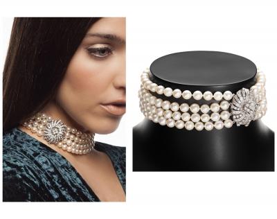 Collar-gargantilla de perlas blancas cultivadas