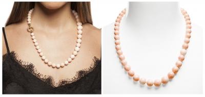 Collar de coral natural colo rosa claro llamado piel de