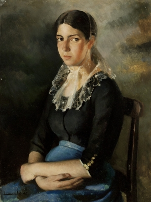 "MUNTANÉ MUNS, Lluís (Mataró, Barcelona, 1899-1987).""Retrato femenino""."