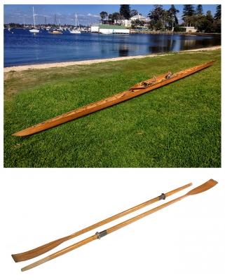 Gran kayak de los años 30-40. Cedro, con remos